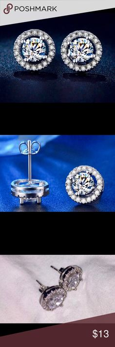 Diamond stud earrings, white gold plated, New! These earrings are brand-new, and beautiful. Would be a perfect gift, or perfect for a wedding day. I bought a couple of pairs and kept one myself. I wear them daily! Jewelry Earrings
