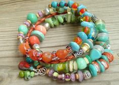 Layered Bohemian Gypsy Wrap Bracelet, Multi Color Beads - what fun colors Memory Wire Jewelry, Boho Jewelry, Jewelry Crafts, Beaded Jewelry, Handmade Jewelry, Jewelry Design, Tribal Jewelry, Jewelry Ideas, Love Bracelets