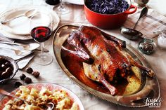 "St. Martin's goose with red cabbage and ""mlinci"""