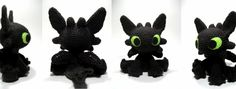 Here is my free pattern for my Toothless amigurumi -- while I designed and created everything in this photo, the instructions for the wings. Disney Crochet Patterns, Crochet Patterns Amigurumi, Crochet Dolls, Doll Patterns, Crochet Crafts, Crochet Projects, Free Crochet, Crochet Toothless, Plastic Bag Crochet