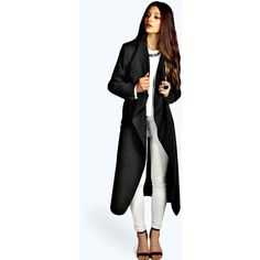 Boohoo Kate Belted Shawl Collar Coat (€31) ❤ liked on Polyvore featuring outerwear, coats, charcoal, belted raincoat, rain coat, longline coat, mac coat and belted coat