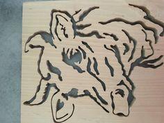 Joli Portrait de vache en bois de hêtre : Décorations murales par gracy-chantournage