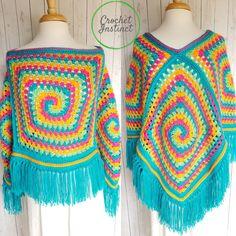 Spiral Illusion Poncho Free Crochet Pattern- Part 1 Basic Construction Photo Tutorial – Crochet Instinct Crochet Poncho Patterns, Crochet Shawl, Crochet Stitches, Knit Crochet, Blanket Patterns, Easy Patterns, Hippie Crochet, Crochet Girls, Crochet Baby