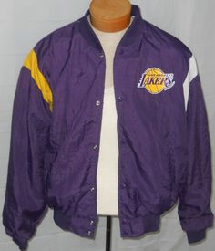 """Vintage LA Lakers NBA Snap Jacket No Size 56"""" Chest Nylon Lined Swingster USA #Swingster #LALakers"""