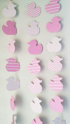 Pink Baby Shower Duck Theme Paper Garland by thepapercove on Etsy, $7.00