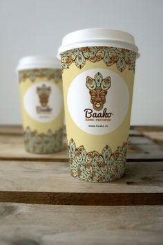 "Стаканчик для кофе«Баако». Coffe cup cafe-restaurante ""Baako"". #фирменныйстиль #айдентика #стаканчиккофе #identity #coffeecup #graphicdesign #coffee #polygraphydesign"