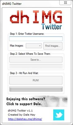dhIMG Twitter 1.2 dhIMG Twitter is a free program that works on pretty much any computer running Microsoft Windows and allows you to download the images from a Twitter page easily. This tool can be extremely handy if you are wanting to backup your Twitter profile and don't wish to save every image manually. #Twitter #Photography #Photos