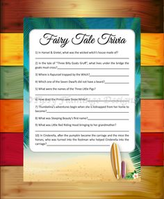 Surfing Theme, Baby Shower Game, Fairy Tale Trivia, Beach, Baby Shower Game, Surf Boards, Tropical, Printable, Instant Download - TFD369 by TipsyFlamingoDesigns on Etsy