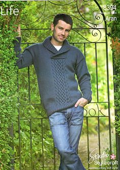 Ravelry: Mens Shawl-Neck Pullover pattern by Stylecraft Yarns