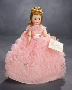 """Lot: Cissette in """"Yard and Yards of Ruffles"""" Gown, Original Box, 1963 Pretty Dolls, Beautiful Dolls, Beautiful Things, Old Dolls, Antique Dolls, Vintage Madame Alexander Dolls, Wigs With Bangs, Tulle Gown, Pink Tulle"""