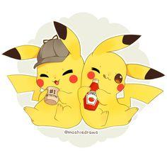 Ash's Pikachu and Harry's Pikachu by iMoshie on DeviantArt Pokemon Comics, Pokemon Fan Art, My Pokemon, Pokemon Fusion, Pokemon Cards, Pikachu Art, Cute Pikachu, Pikachu Memes, Pikachu Tattoo