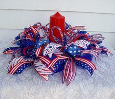 Patriotic Deco Mesh Centerpiece  Patriotic by DeliaKateDesigns