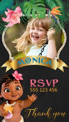 Kimbely Moana Party Invitations, Birthday Invitations Kids, Digital Invitations, Moana Birthday Decorations, Moana Birthday Party Theme, Birthday Kids, Moana Gif, Moana Video, Festa Moana Baby