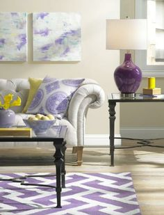 Radiant Orchid living room style is as easy as one, two, three. - Lighting & Decor by LampsPlus.com #radiantorchid #coloroftheyear #colorplus