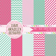 Pink and Blue Green Digital Paper Set Personal & Commercial Use Instant Download