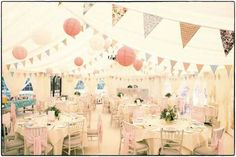 Vintage bunting and paper pompoms set your afternoon tea wedding room off perfectly Wedding Bunting, Marquee Wedding, Marquee Hire, Wedding 2017, Dream Wedding, Wedding Tips, Cath Kidston Vintage, Marquee Decoration, Vintage Tea Parties