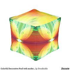 Colorful Decorative Pouf with modern pattern Cube Pouf