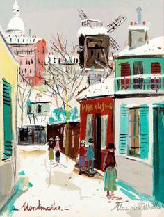 By Maurice Utrillo, Moulin de la galette, Montmartre, Paris.