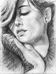 Original pencil drawing woman looking down drawings for How to draw a girl looking down