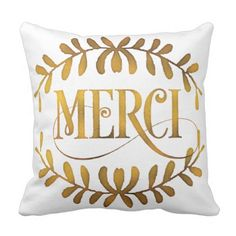 Golden Merci Typography Throw Pillow.  Learn even more at the image link