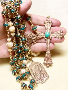 Turquoise Rosary Bronze Unbreakable Wire wrap by HeartFeltRosaries, $259.00