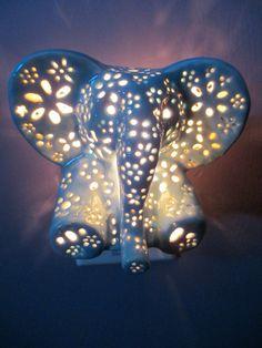 Ceramic elephant night light by LilysLights on Etsy Ceramic Elephant, Grey Elephant, Elephant Stuff, Elephant Lamp, Elephant Room Ideas, Elephant Baby Decor, Baby Elephant Walk, Elephant Mugs, Baby Hippo