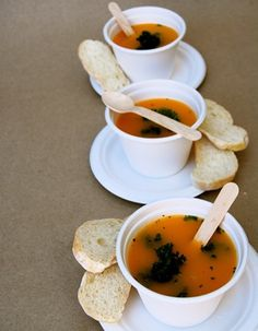 Yummy winter soup served in biodegradable soup bowls with wooden teaspoons. All of them are compostable after use.