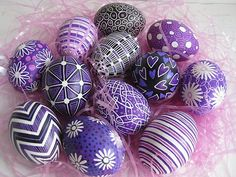 These beautifully crafted eggs, called pysankas, were hand-painted with hot beeswax, dyed and varnished