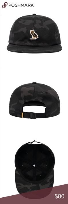 OVO Logo 6 Panel Hat NWOT October's Very Own by Drake OWL LOGO 6 PANEL - BLACK CAMO 6 PANEL CAP  100% COTTON JAPANESE CAMO TWILL CAP IN BLACK  EMBROIDERED LOGO ON FRONT  FLAT VISOR PLASTIC CLIP CLOSURE AND GOLD TAB ON BACK October's Very Own Accessories Hats