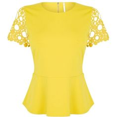 Karen Millen Circle Broderie Top (3.835 RUB) ❤ liked on Polyvore featuring tops, shirts, yellow, clearance, yellow shirt, embroidery shirts, short sleeve shirts, short sleeve tops and yellow peplum shirt