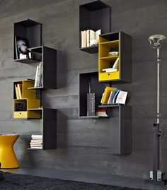 Contemporary wall bookcase - FORTEPIANO by Rodolfo Dordoni