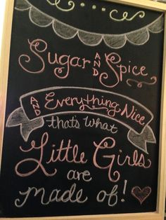 Chalkboard art, created by me! Sugar and Spice baby shower sign for @Torri Hassiotis! Pink Piggie Baby Shower adorableness!