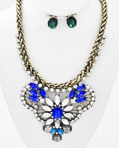 Burnished Gold Tone / Sapphire Blue & Clear Acrylic / Clear Rhinestone / Lead&nickel Compliant / Necklace & Post Earring Set
