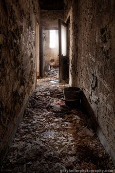 Abandoned, Hallway to the Ladies Room, Urban Exploration, Asylums, Old Buildings, Forgotten Places, Spooky Places, Color Photography Print