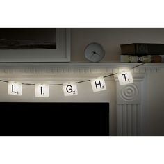 Spell your heart out with these Scrabble tile string lights. | 19 Ways To Spell Out Your Love Of Letters