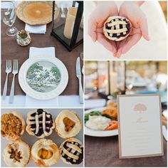 Southern Wedding Table Decor and mini homemade pies - comfort food perfect for a rustic wedding
