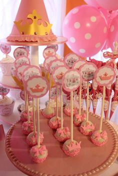 Princess birthday party cake pops! See more party ideas at CatchMyParty.com!