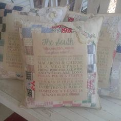 Check out this item in my Etsy shop https://www.etsy.com/listing/237220978/vintage-quilt-pillow-with-southern-quote