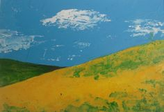 Canola Hills  original acrylic painting  abstract by VESNAsART, $45.00