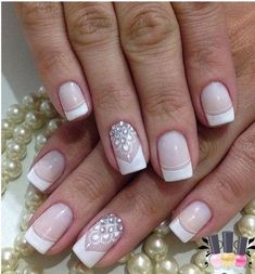 French tip nail designs fresh rhinestone art ideas of idea acrylic nails faded . french tip cute acrylic nails gel . Swarovski Nails, Crystal Nails, Nail Art Rhinestones, Rhinestone Nails, French Tip Nail Designs, Nail Art Designs, Nail Deco, Gel Nails French, Floral Nail Art