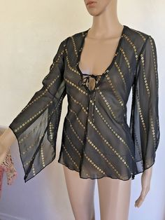 New Black Gold Kimono Cut out Sleeve Top Shirt Size M Hippie Sheer Disco #UnoCore #Tunic #Clubwear