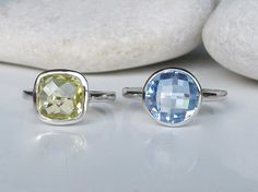 Stack Ring- Blue Topaz Ring- Citrine Ring- Stackable Ring- Birthstone Ring- Square Ring- Statement Ring- Gifts for Her on Etsy, $127.99