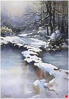 Frozen Path - Ohio by Thomas W. Schaller Watercolor ~ 22 inches x 15 inches