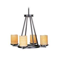 Chandelier with Beige / Cream Glass in Rustic Ebony Finish