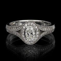 SPLIT SHANK MICRO PAVE` OVAL DIAMOND RING