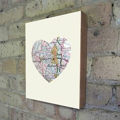 I heart it!    Seattle Washington Art City Heart Map  Wood Block Art by LuciusArt, $39.00