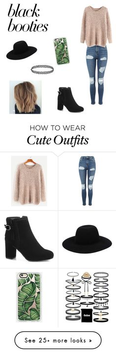 """Black Booties Outfit"" by sophia789 on Polyvore featuring Topshop, Casetify and blackbooties"