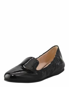 Patent Scrunch Loafer Flat by Prada at Neiman Marcus.