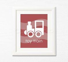 Toy Train  Red Nursery Art Print  8x10  Kids Room by pixelgecko, $14.90