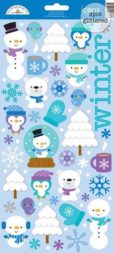 Doodlebug Design - Frosty Friends Collection - Christmas - Sugar Coated Cardstock Stickers - Icons at Scrapbook.com